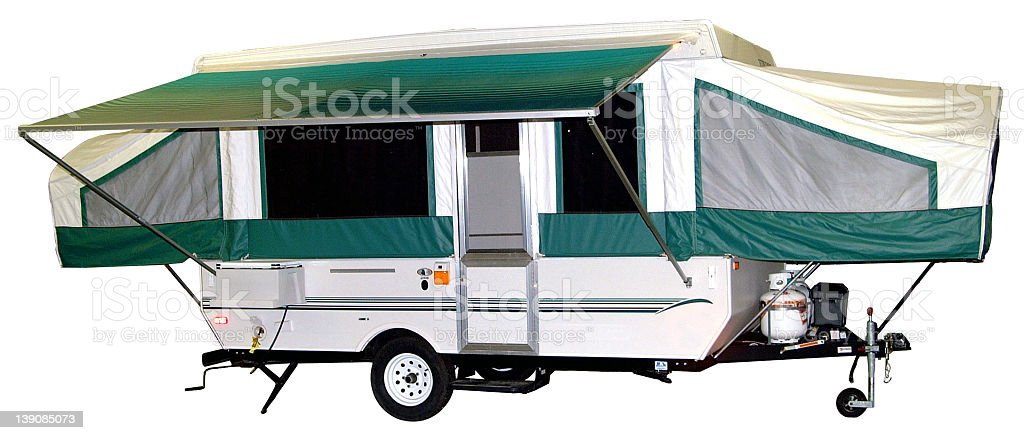 Pop-up camper with path stock photo