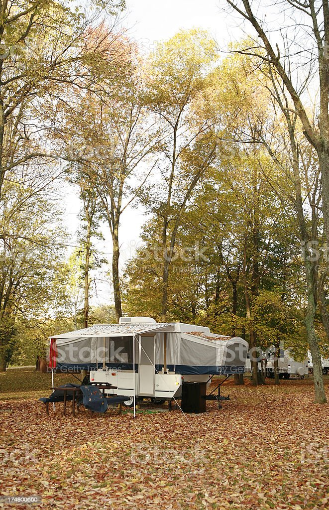 Pop-Up Trailer Camping in the Fall stock photo