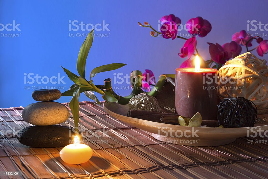 Popurrí, bowl, dried flowers, candles , cinnamon royalty-free stock photo