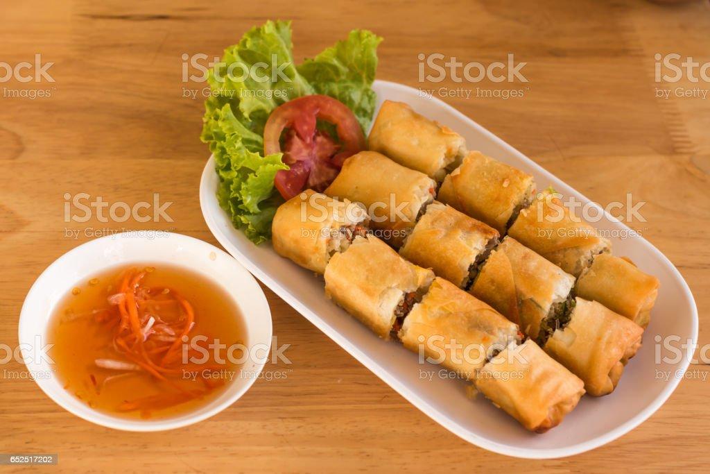 Por Pieer Tod (Thai Spring Roll )  on dish stock photo