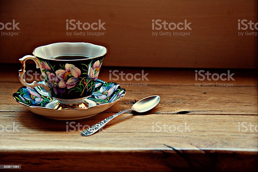 Porcelain Cup, Silver Spoon, Wood Table, Copy Space, Coffee, Tea stock photo