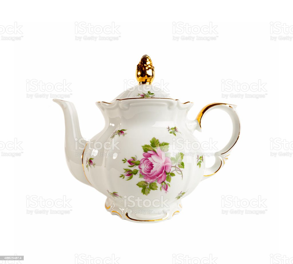 Porcelain teapot in classic style on white stock photo