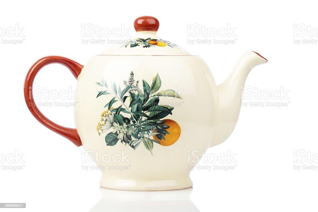 Porcelain teapot isolated on white stock photo