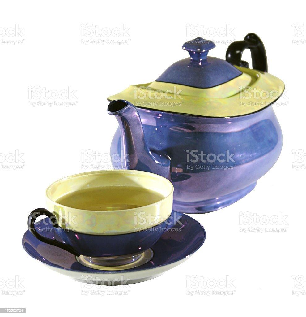 Porcelain Teapot & Teacup stock photo