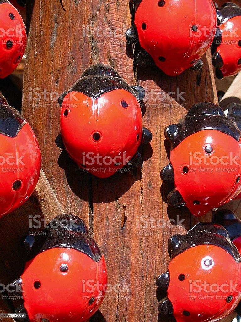 Porcelaine ladybugs climbing royalty-free stock photo