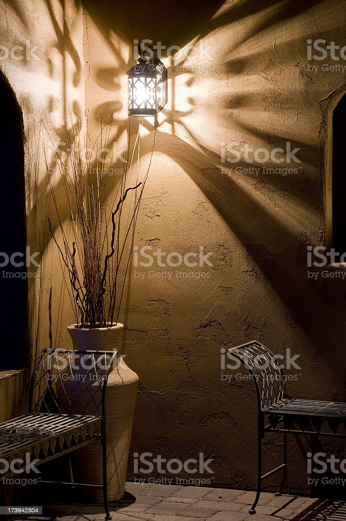 Porch, adobe, evening glow royalty-free stock photo