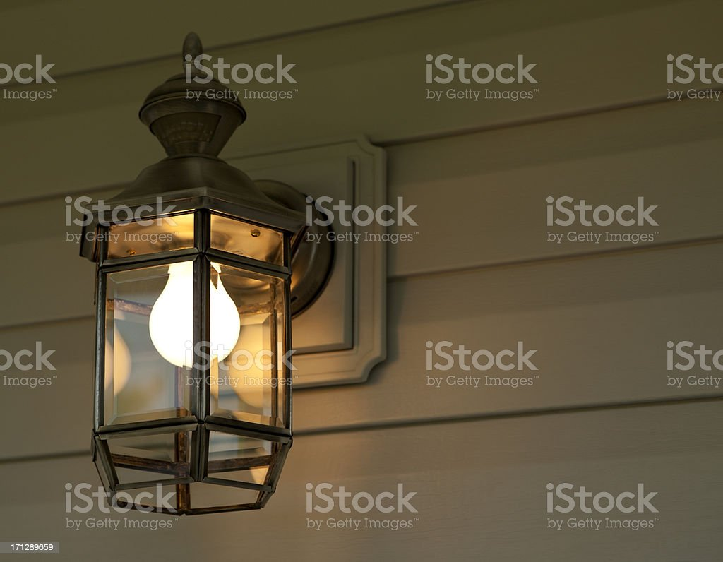 Porch Light at Night stock photo