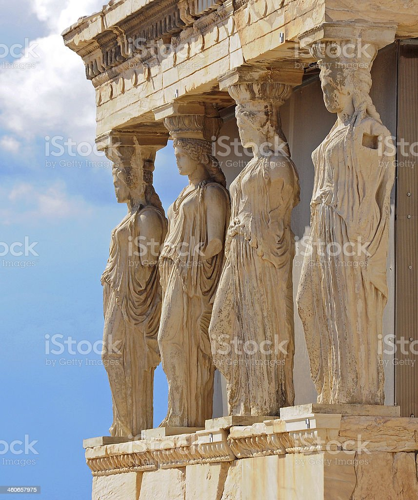 Porch of Caryatides in Acropolis, Athens, Greece stock photo