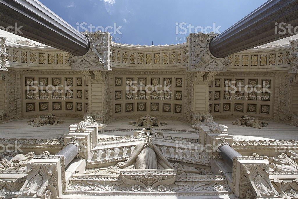 Porch of the Basilica Fourvière in Lyon stock photo