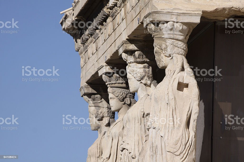 Porch of the Caryatids in Athens, Greece stock photo