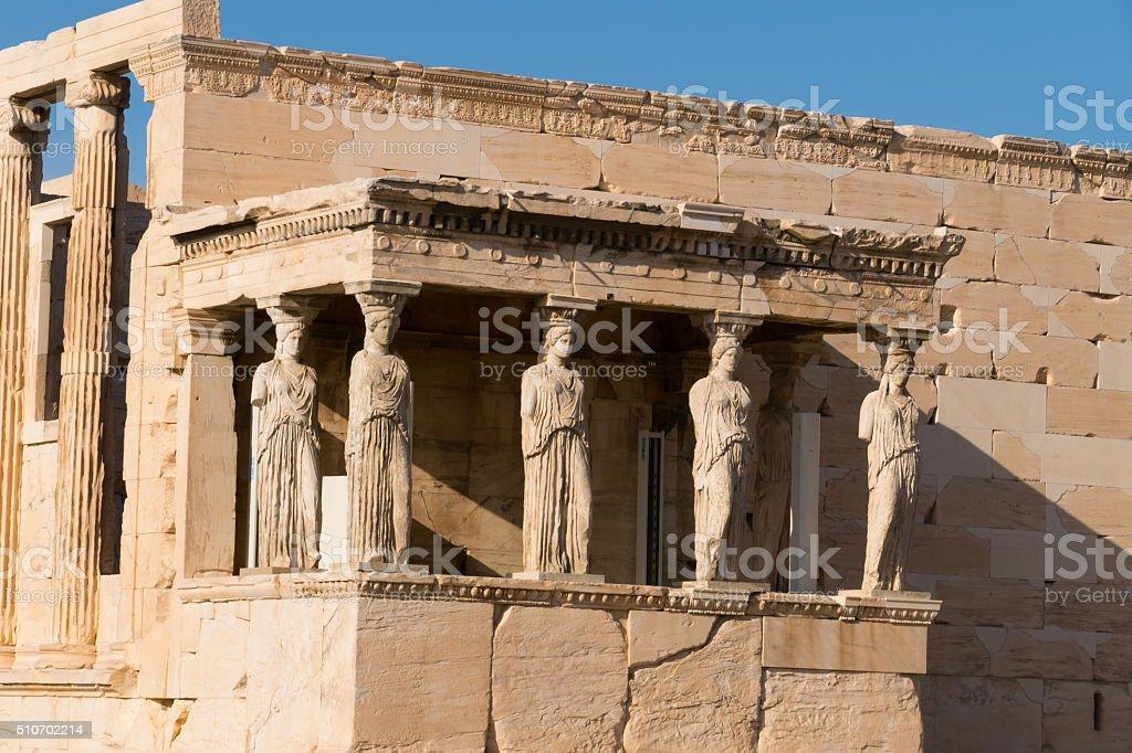 Porch of the Caryatids on Erechtheion temple, Acropolis, Athens, Greece stock photo