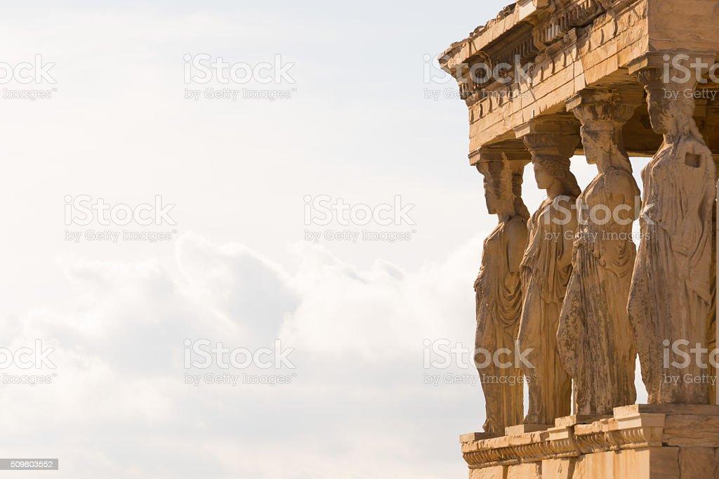 Porch of the Caryatids, Parthenon, Athens, Greece-copy space stock photo