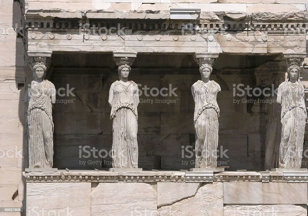 Porch of the Caryatids statues royalty-free stock photo