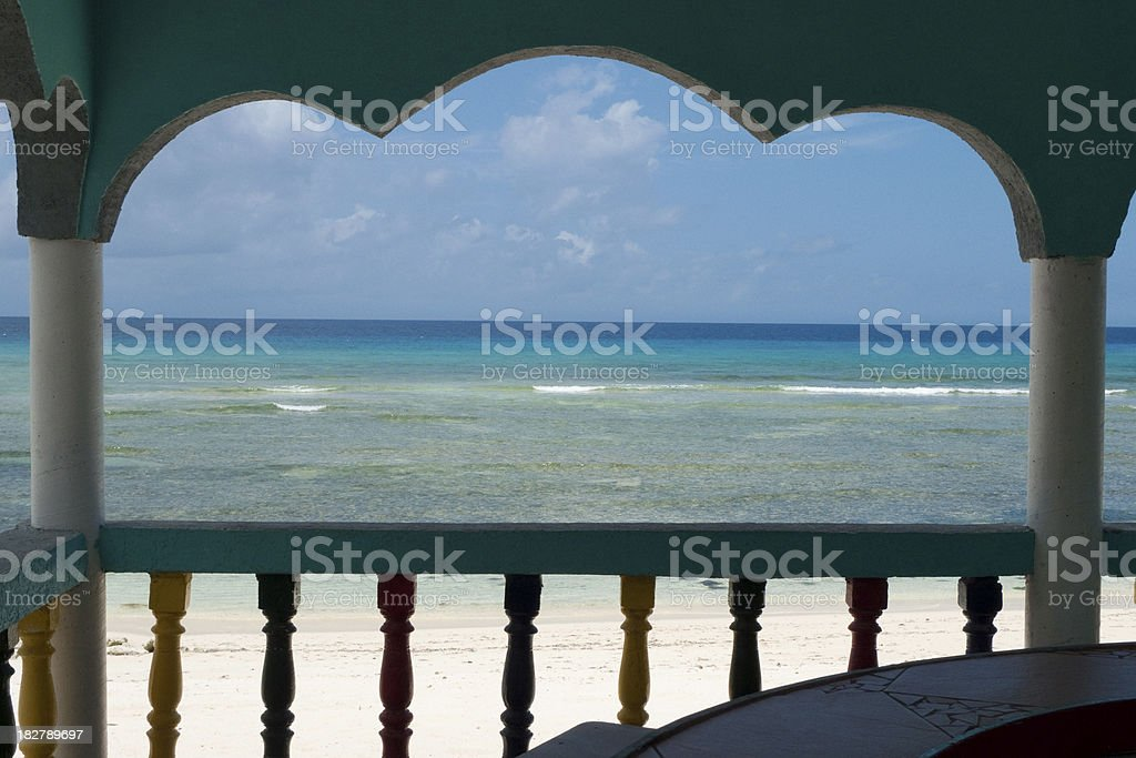 Porch on Remote beach stock photo