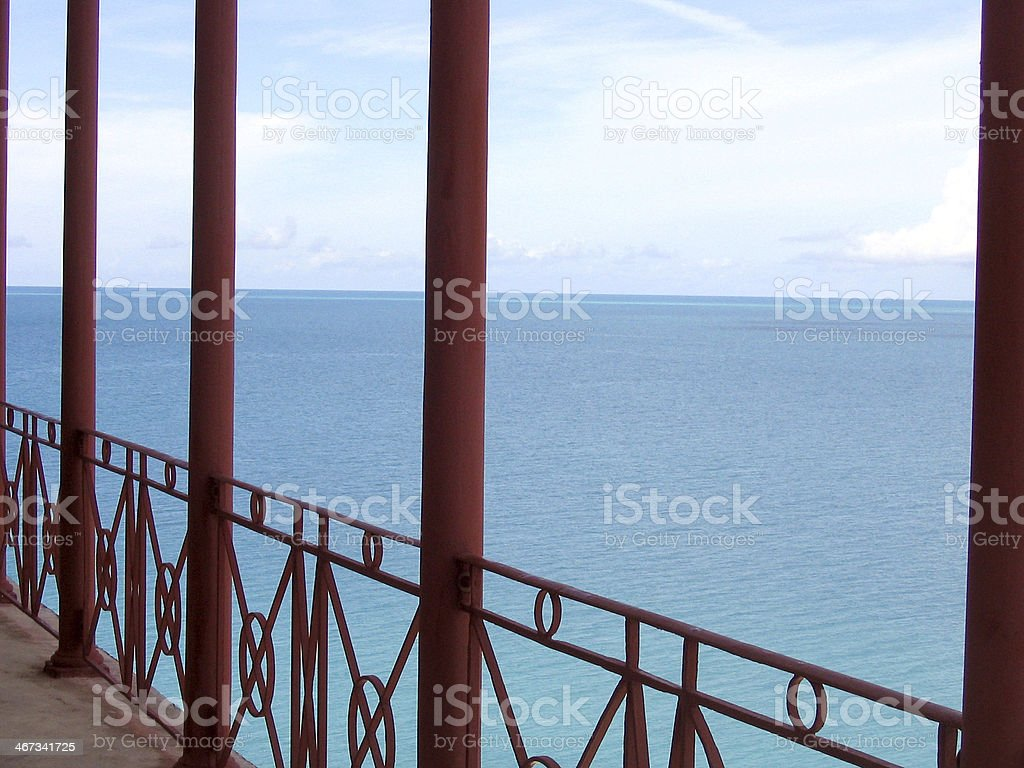 Porch overlooking ocean royalty-free stock photo
