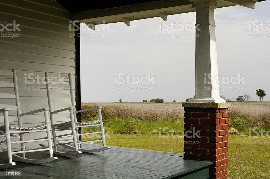 Porch Overlooking Salt Marsh stock photo