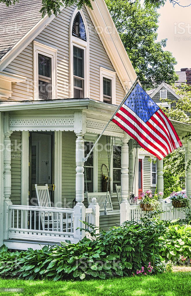 Porch Patriotism stock photo
