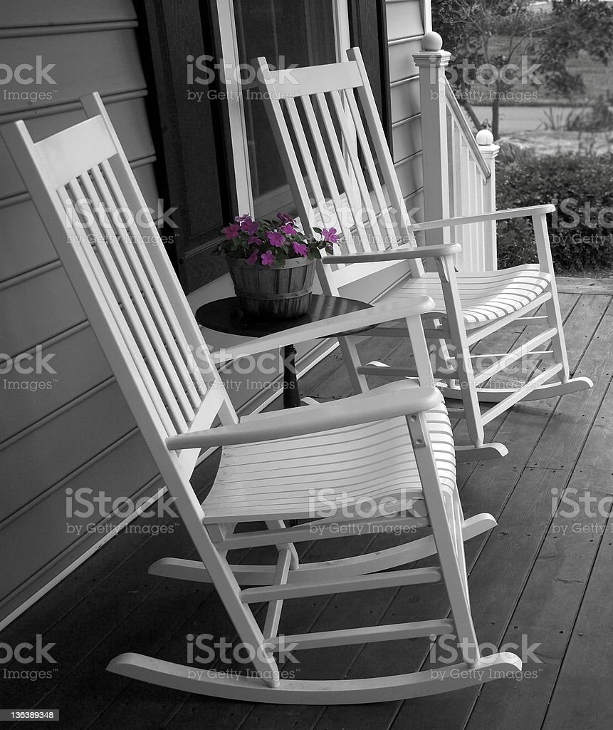 porch rockers stock photo