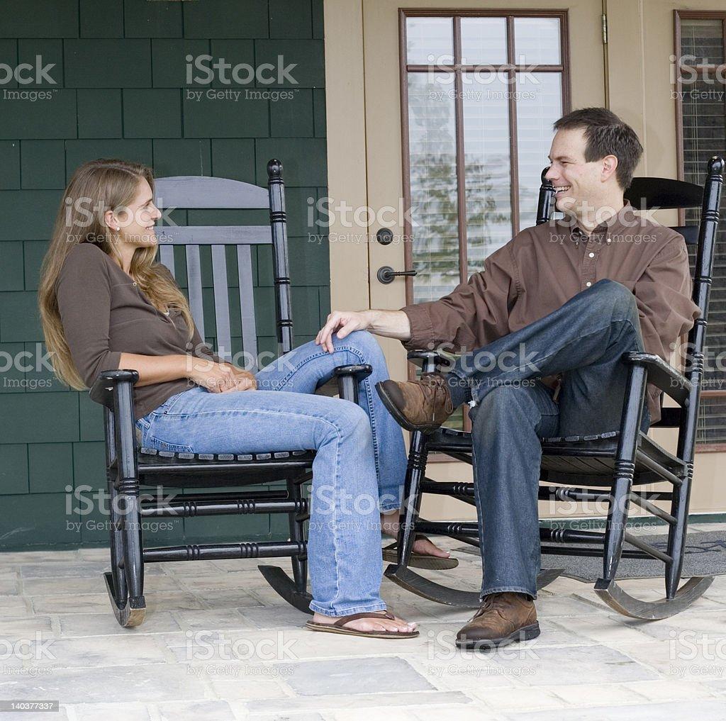 Porch Talk royalty-free stock photo