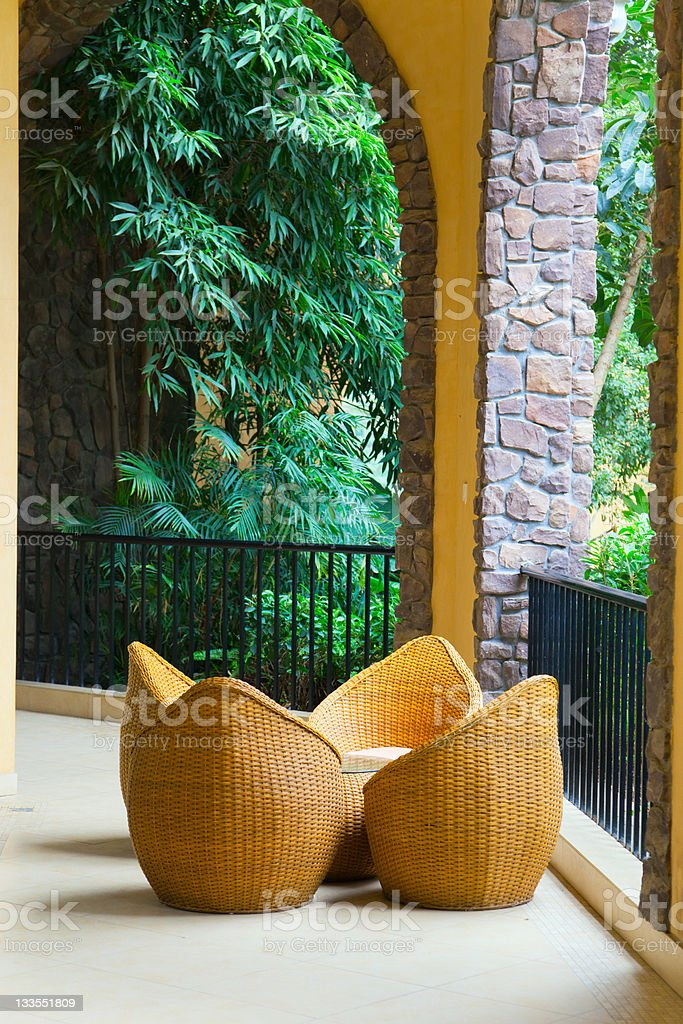porch with rattan chairs royalty-free stock photo