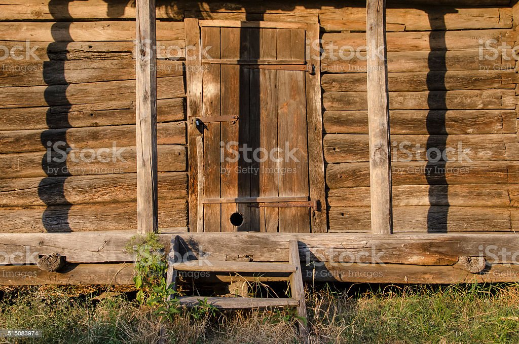 porch wooden hut stock photo
