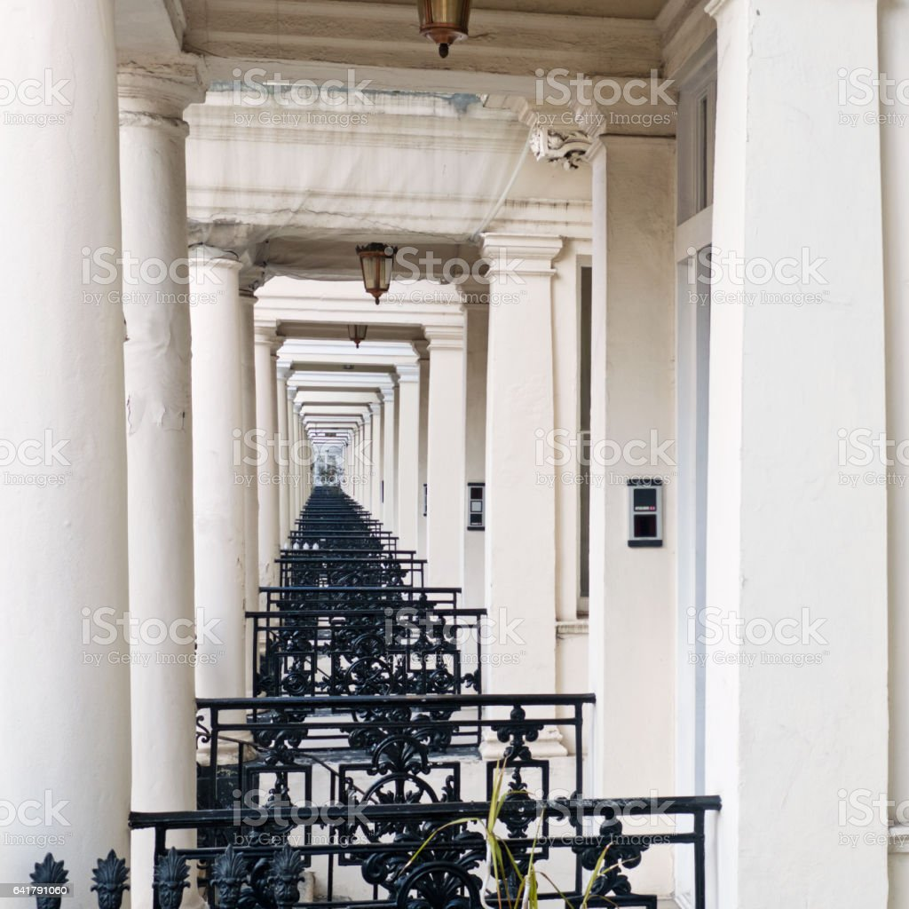 Porched entrances to Georgian houses in London stock photo