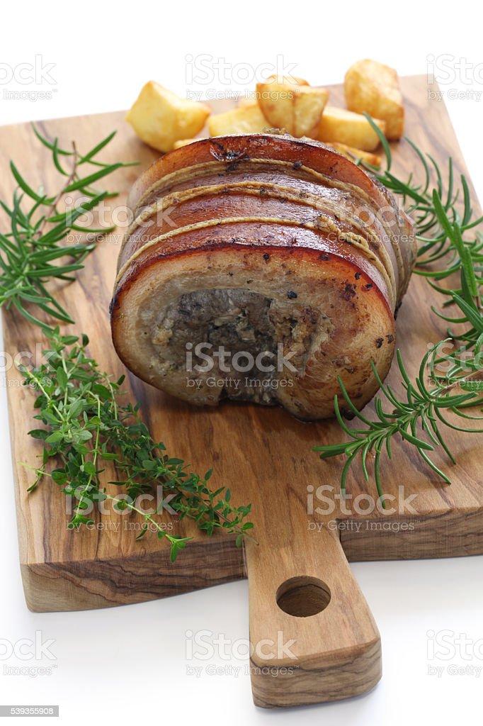 porchetta, italian roast pork stock photo