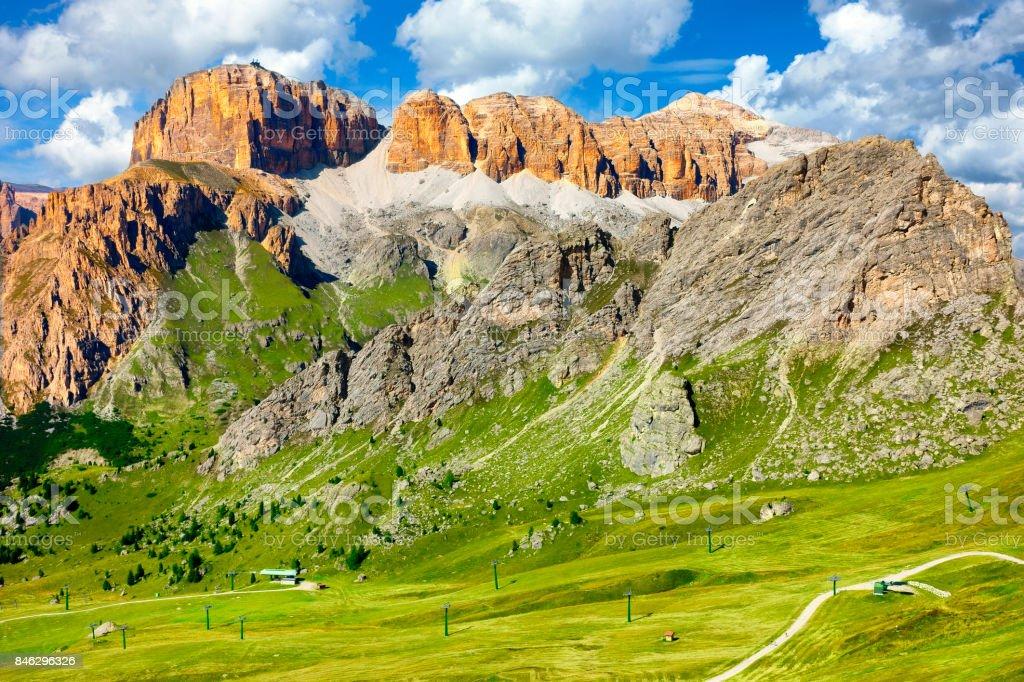 Pordoi Mountain Group, Dolomites Alps, Italy stock photo