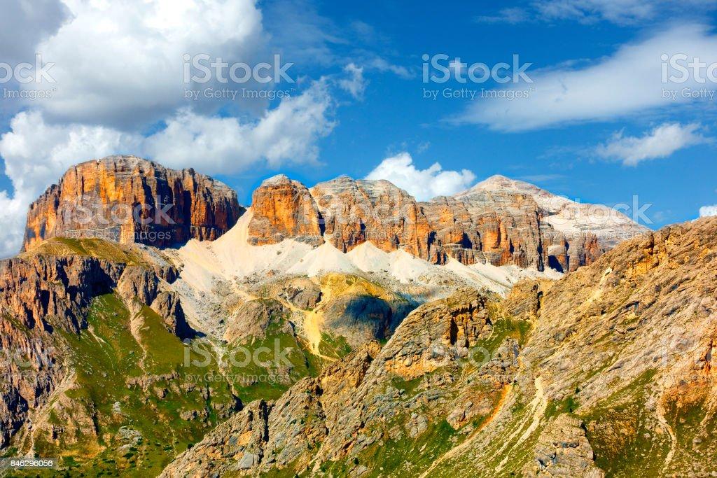Pordoi Mountain Peak, Dolomites Alps, Italy stock photo