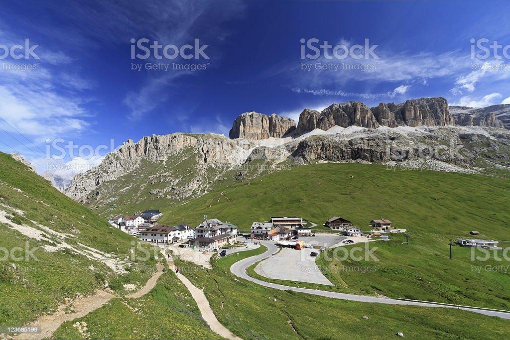 Pordoi pass and mountain stock photo