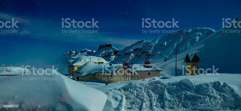 Pordoi pass, Val di Fassa, Dolomites, Italy at moonlight stock photo