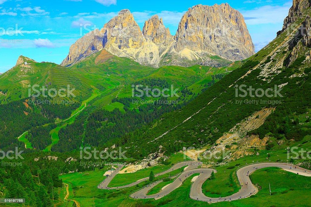 Pordoi, Sella sassolungo mountain bike, Dolomites, Italian Tirol alps stock photo
