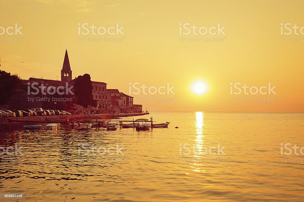 Porec View at Sunset. Medieval City in Croatia. stock photo