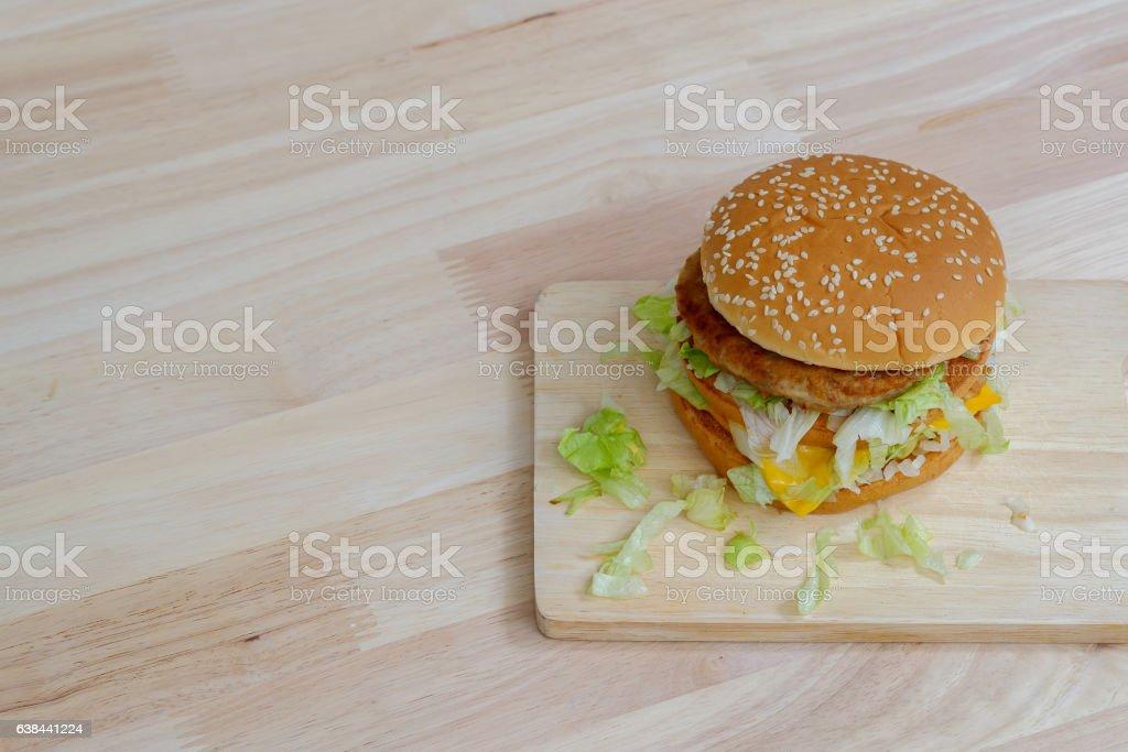Pork and cheese hamburger. stock photo
