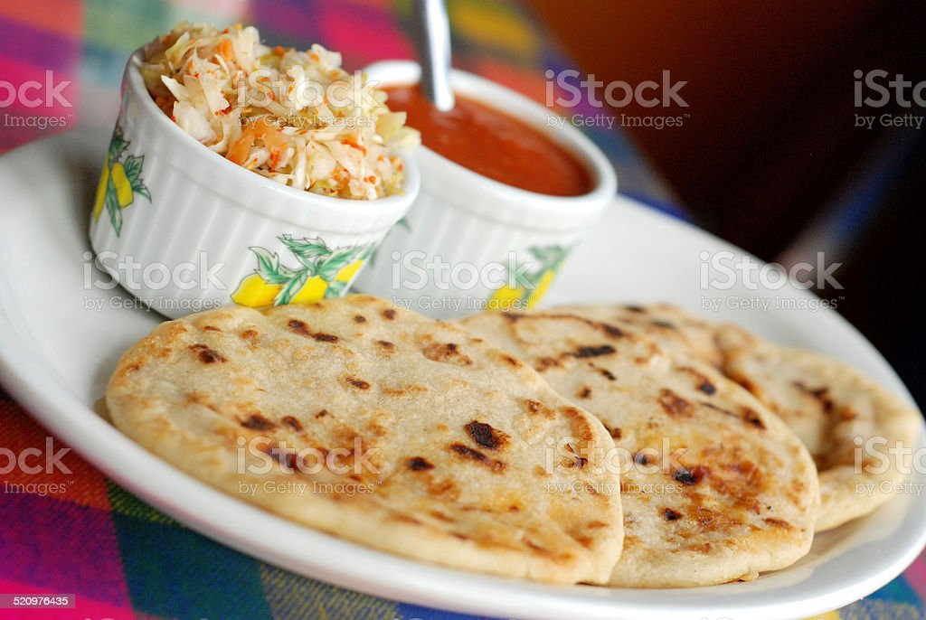 Pork and Cheese Pupusas stock photo