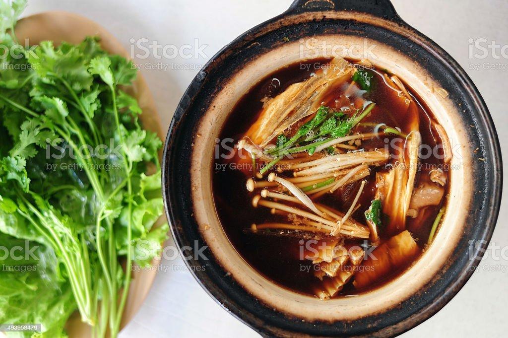 pork and herbal soup, ba kut teh stock photo