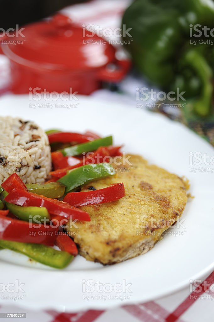 pork and peppers with rice stock photo