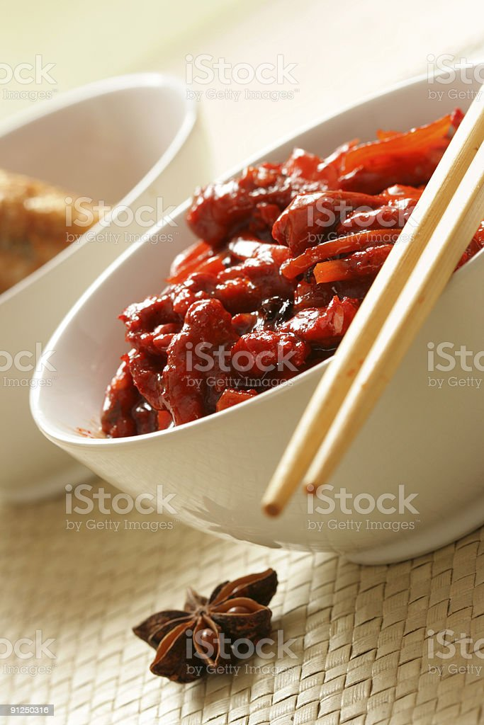 Pork and vegetables royalty-free stock photo