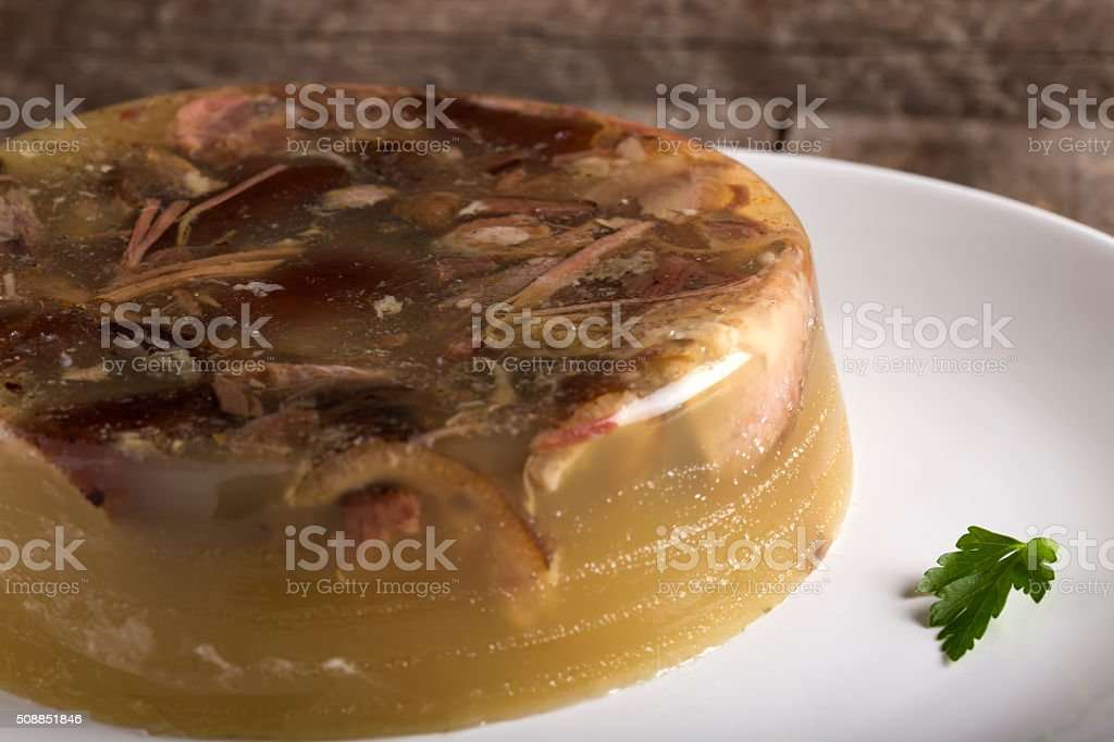 Pork aspic on the plate stock photo