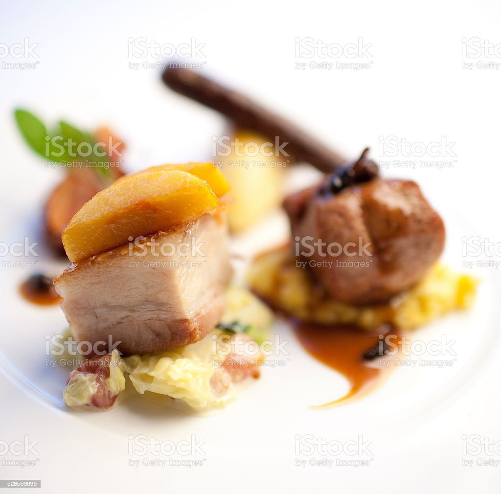 Pork belly Cube stock photo