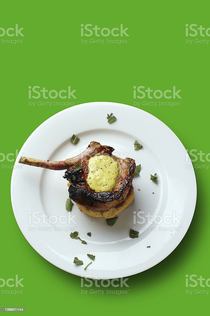 pork chop and clipping path stock photo