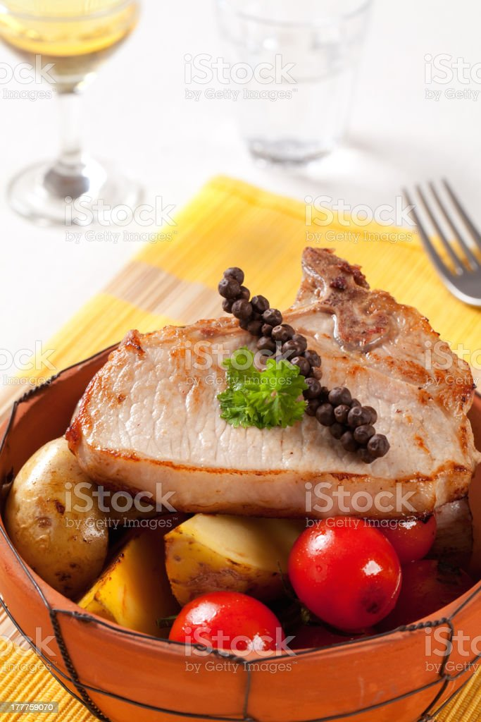 Pork chop and potatoes royalty-free stock photo