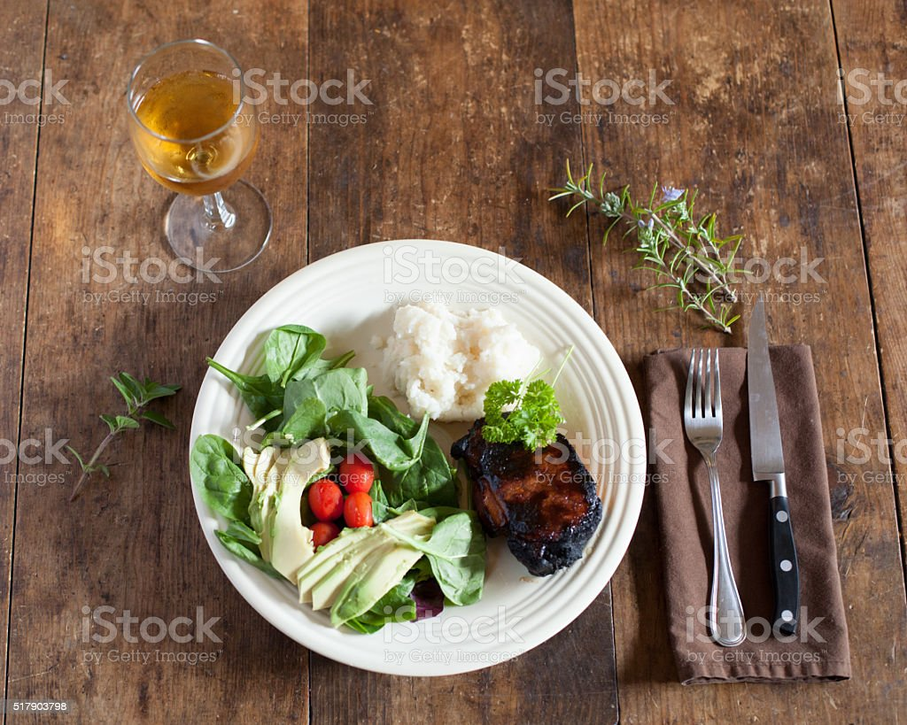 Pork Chop and Potatoes stock photo