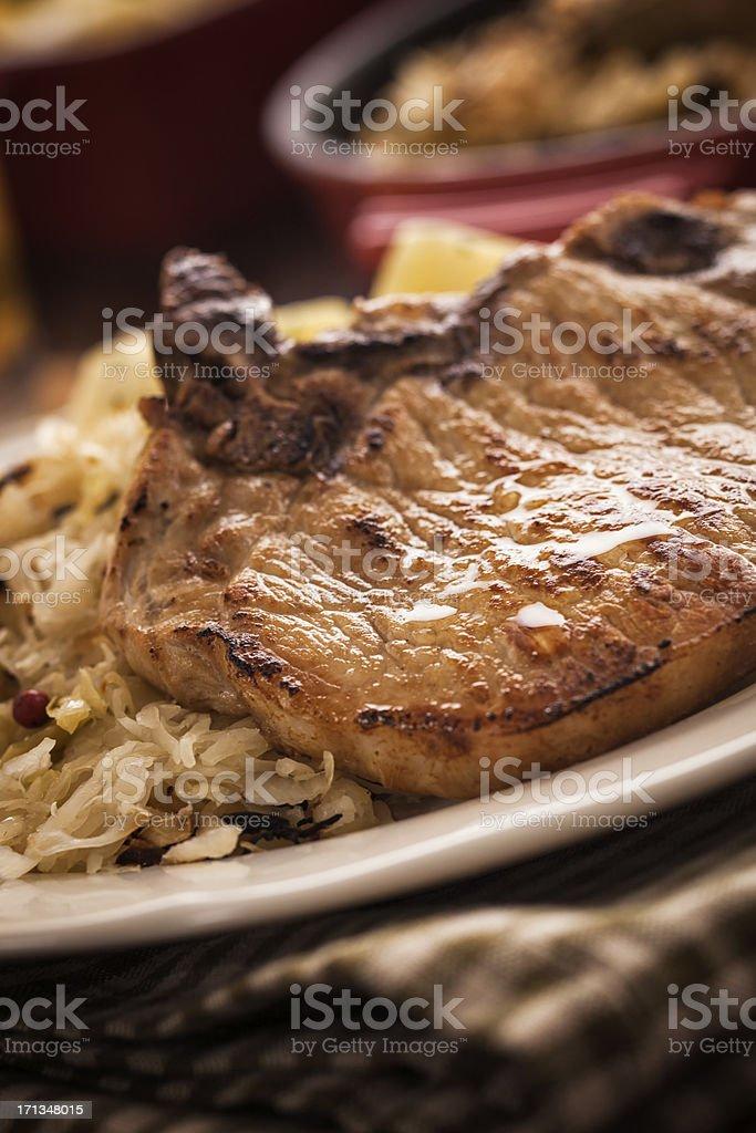 Pork Chop and Sauerkraut royalty-free stock photo