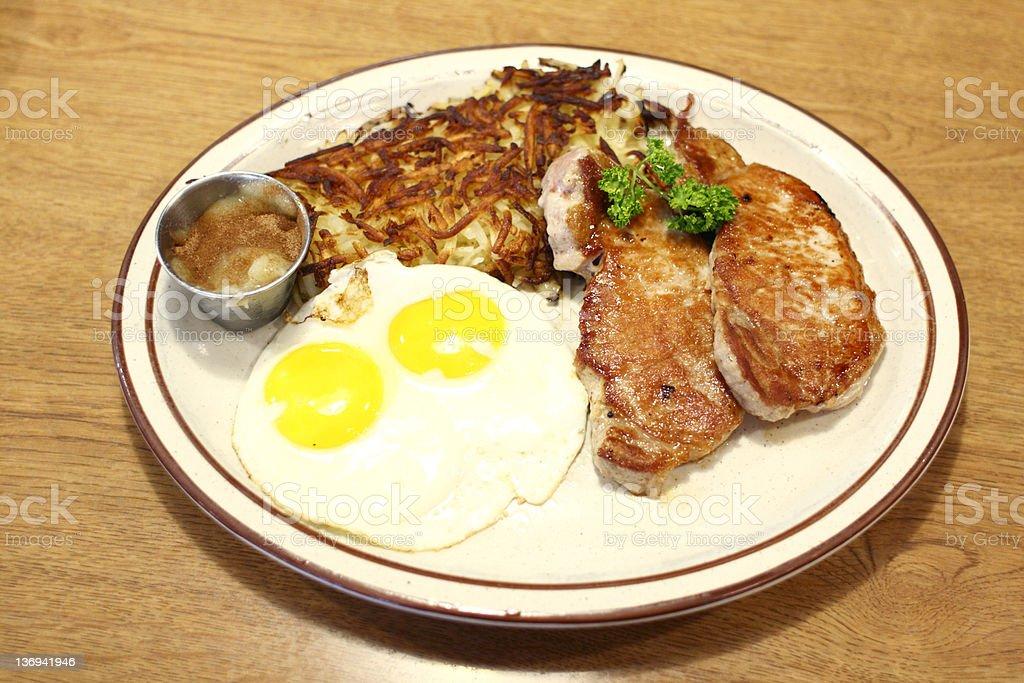 Pork chop breakfast at diner royalty-free stock photo