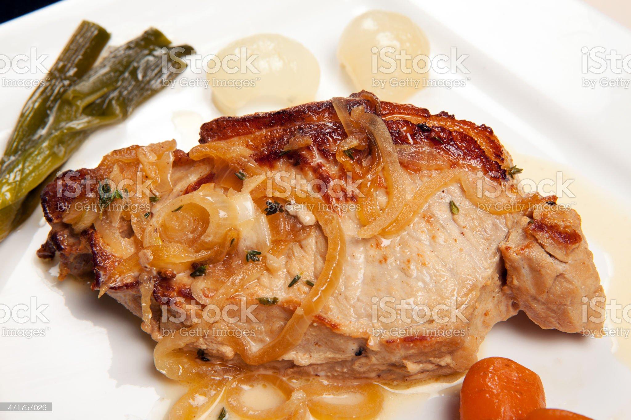 pork chop dish vegetables royalty-free stock photo