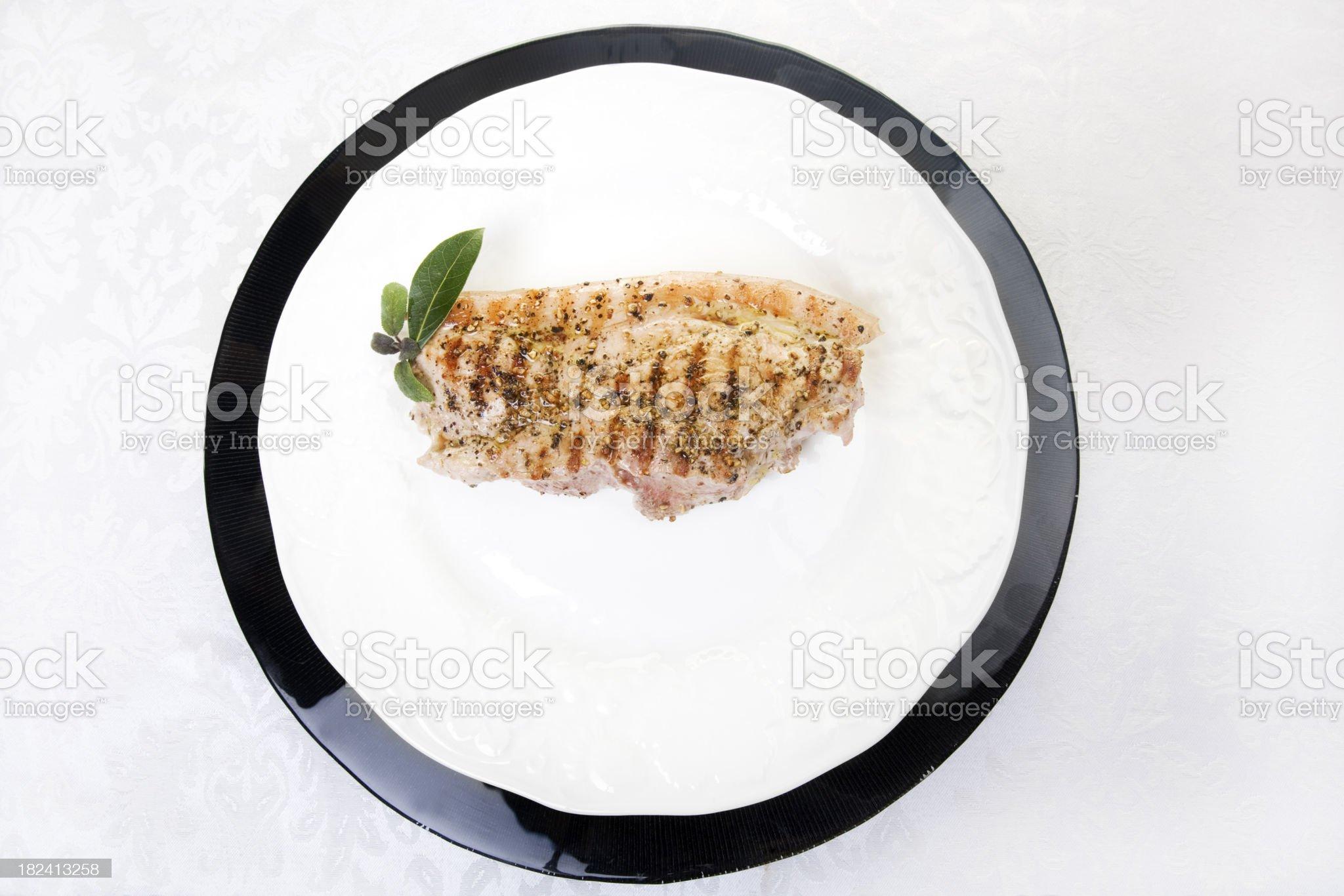 pork chop on plate royalty-free stock photo