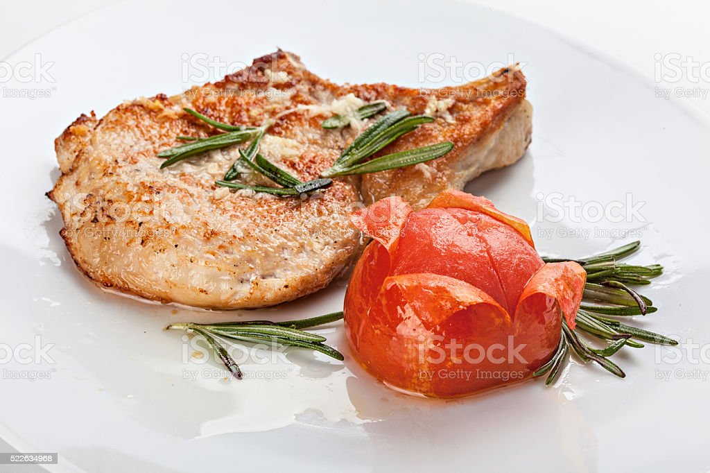 Pork chop on the plate. stock photo