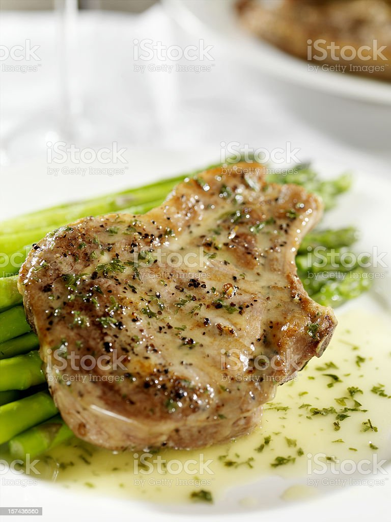 Pork Chop with Asparagus royalty-free stock photo