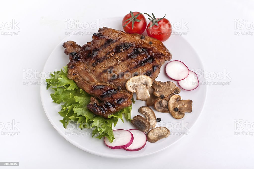 pork chop with mushrooms royalty-free stock photo